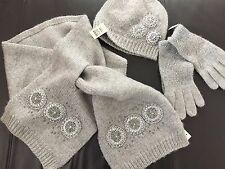 Talbots Winter Scarf & Gloves & Hat- 4 pc- Silver Gray- All brand New w/tags.