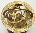 Antique Nautical Brass Armillary Engraved Horoscope Tabletop Sphere Globe Decor
