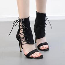 Women Lace Up High Heels High Top Sandals Roman Gladiator Open Toe Ankle Boots