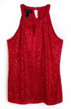 INC International Concepts NEW Sleeveless Top Halter Red Sequin Stretch Medium M