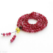 New 4mm Red Jade Tibet Buddhist 108 Prayer Beads Mala Necklace Bracelet Bangle