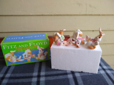 Fitz And Floyd Eggscapades Tumbling Rabbits Bunnies Ceramic Figurines 2003
