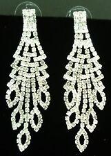 """Clear Crystal Rhinestone Bridal Prom Chandlier Statement Earrings 2-1/8"""" L NWT"""