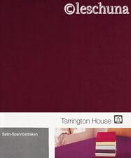 ✿ TARRINGTON HOUSE BAUMWOLL-SATIN SPANNBETTLAKEN 100x200 BORDEAUX 2x BETTLAKEN ✿