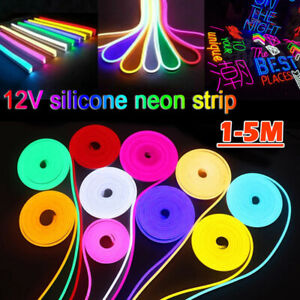 Led Neon Rope Light 12V Flexible Led Strip Lights IP68 Waterproof 1-5M 5 Colors