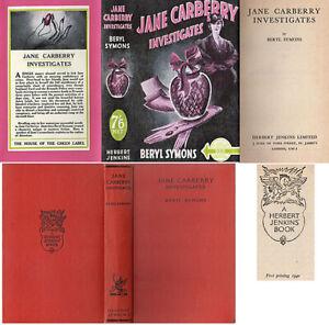 Beryl Symons  JANE CARBERRY INVESTIGATES  1st w/fdj 1940 Collins Crime Club