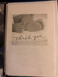 NIB Carlton Baby Thank You Cards - 50 Cards & Envelopes Unisex Baby Feet Design