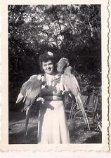 Pretty Flower In Hair Girl w/4 Parrots On Arms 1940s Photo Parrot Jungle Miami?