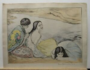 Bela Ivanyi Grunwald Color Etching of Three Gypsies Nude Listed Hungarian Artist