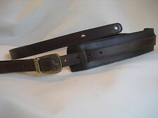 LEATHER BROWN SLASH/ GOLD BUCKLE BASS, ACOUSTIC GUITAR STRAP