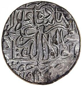 India Mughal Akbar 1556-1605 AR Rupee Hazrat Delhi AH964 KM-80.7