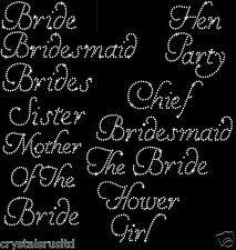 Wedding Bridesmaid transfer iron on diamante bride t shirt transfer hen party