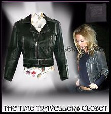 TOPSHOP KATE MOSS RARE VTG GREEN DISTRESSED LEATHER CROP BIKER JACKET UK10 12 14