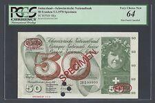Switzerland 50 Francs 5-1-1970 P48js Specimen TDLR N002 Uncirculated