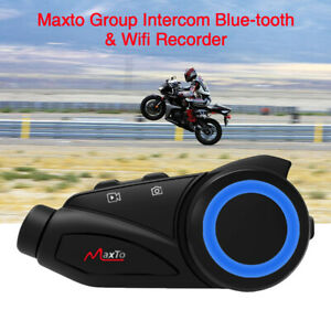 1000m Motorcycle Group Intercom Helmet Headset HIFI FM Bluetooth & Wifi Recorde