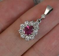 Quality 18 Carat White Gold Ruby & VS 0.6ct Diamond Pendant