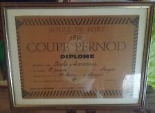 TRES RARE DIPLOME COUPE PERNOD ,BOULE DE FORT 1970 NO RICARD