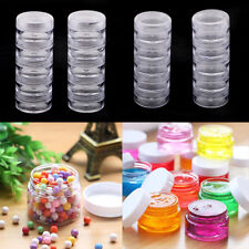 4 Set 5 Stacking Beads Containers Clear Screw Top Jar Nail Art Storage Boxes