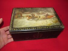 """Antique old BIG candy box casket Russian fairy tale """"General Toptygin"""""""