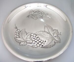 Repousse Grape Tray Wallace 1950 Sterling Silver
