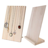 2Pcs Necklace Earring Jewelry Display Holder Stand Organizer Rack Solid Wood