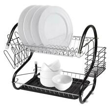 Durable 2-Tier Kitchen Dish Cup Drying Rack Holder Sink Drainer Storage Rack New