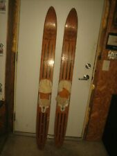 Vtg Set Of Lund Voyager Brown Water Skis Mancave Yard Art Furniture Art Display