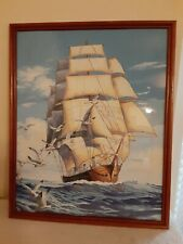 Vintage Large Paint By Number Pbn Sailing Clipper Ship Framed Nautical Glass