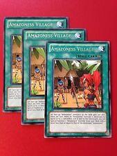 3x Yugioh DREV-EN053 Amazoness Village Rare Unlimited Playset NM Near Mint x3