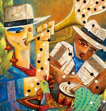 Jazz Cuban Musicians Conga Surreal Rooster Cigars Guajabera Cuban Art SFASTUDIO