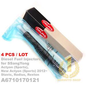 4PCS Delphi CRDI Diesel Fuel Injector A 6710170121 for SsangYong Korando C