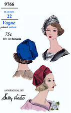 Designer Sally Victor VOGUE #9766 Millinery Cap Hats Fabric Sewing Pattern 22""
