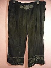 BNWOT Banke B Black Striped 3/4 Length Trousers.Embroidery & Ties.Cotton.X Large