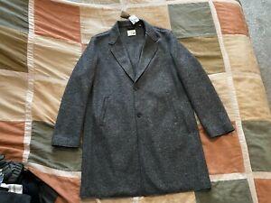 $695 Billy Reid dark grey melange boiled wool top coat XL mens NEW made in italy