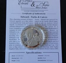 1999 SILVER PROOF TURKS & CAICOS 20 CROWNS COIN + COA EDWARD & SOPHIE WED