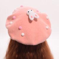 Lolita Girls Lovely Wool Beret Cute Plush Dot Rabbit Hat Headwear Casual Hat