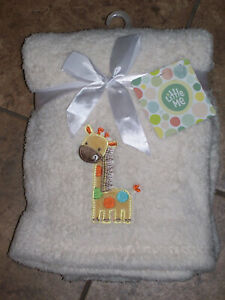 Little Me Plush Soft  Beige IVORY Baby Blanket  Appliquéd Giraffe 30 x 40 NWT