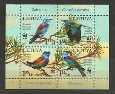 Lithuania Litauen MNH 2008 Mi 988-991 block 37 Sc 878a-d WWF Birds Roller