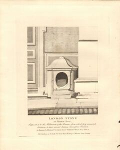 1791 ANTIQUE PRINT- ARCHITECTURE- LONDON STONE IN CANNON STREET
