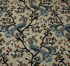 "ROBERT ALLEN PLUME REDUX MIDNIGHT Blue Peacock Floral Fabric BY THE YARD 55""W"