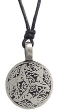 Pewter 3 HORSES Pendant on Black Cord Necklace Nickel Free Celtic Trinity