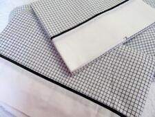 NAUTICA 3pc Twin Sheet Set Black w/ White Tattersal Plaid Flat~Fitted~Pillowcase