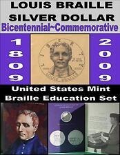 US Treasury 2009 Louis Braille Education Set W/Commemorative BU Silver Dollar