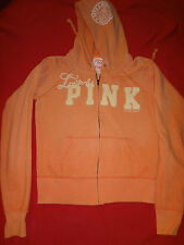 Victoria's Secret Love & PINK Womens Hoodie Hooded Sweater Small Orange Sweats