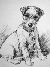 K.F. Barker 1933 Fox Terrier Puppy Demands Attention Vintage Art Print Matted