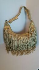 Designer bebe Metallic Fringe Hobo Handbag Purse RARE FIND