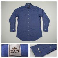 Peter Millar Mens Blue Medium Button Front Casual Long Sleeve Cotton Shirt