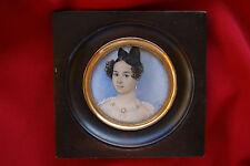 Miniatur Porträt einer Schönheit aus der  Biedermeier Zeit, 1836, signiert