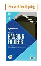 Members Mark Hanging File Folders Legal 15 Cut Tabs Green 50box