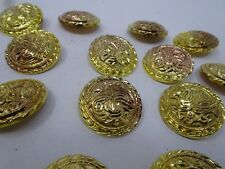 Vintage Gold Rounded Shank Buttons with Dark Shadows 35mm Lot of 4 B101-6